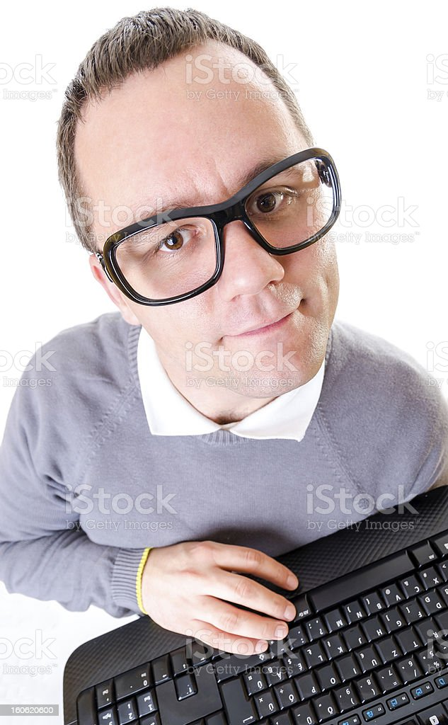 Man with keyboard royalty-free stock photo