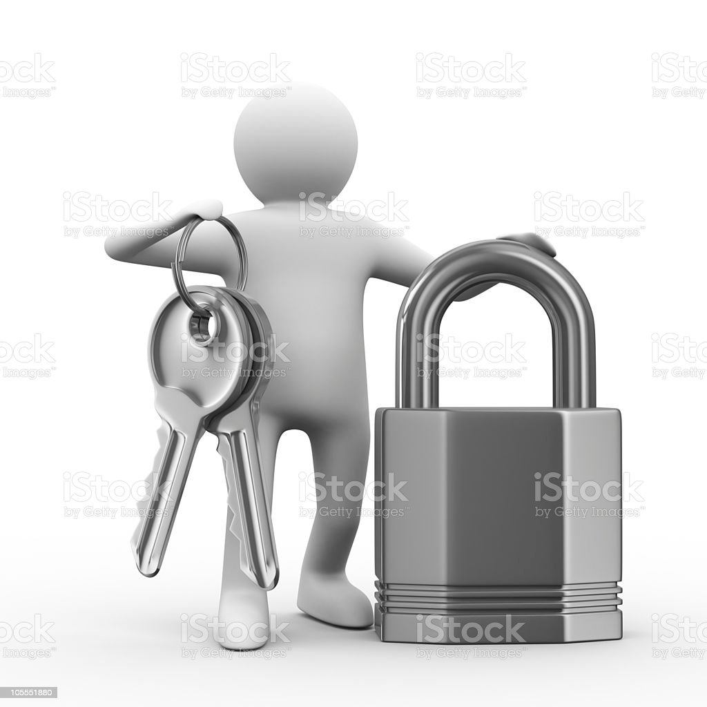 man with keys and lock on white background. 3D image royalty-free stock photo