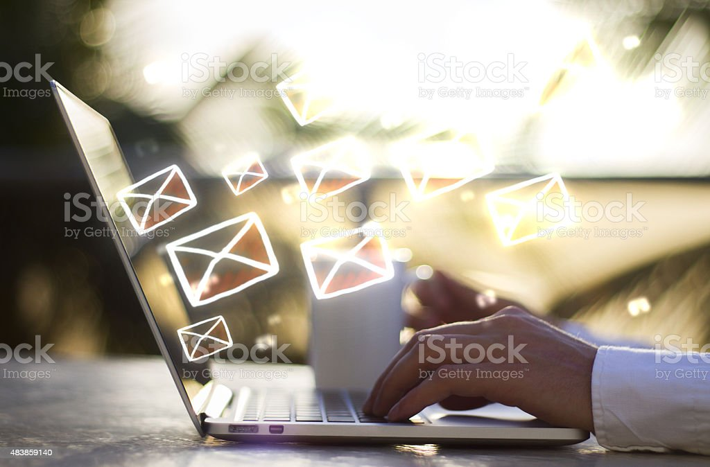 man with laptop and email concept stock photo