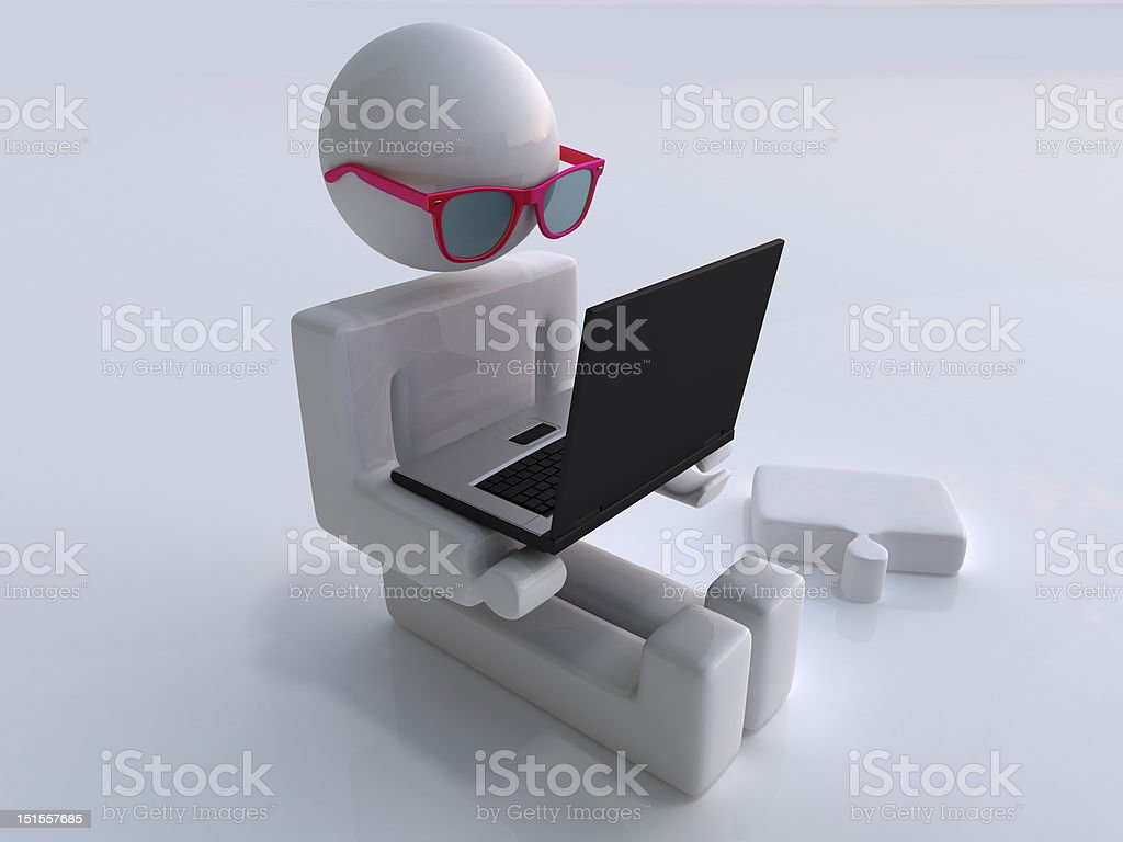 man with laptop and glass royalty-free stock photo