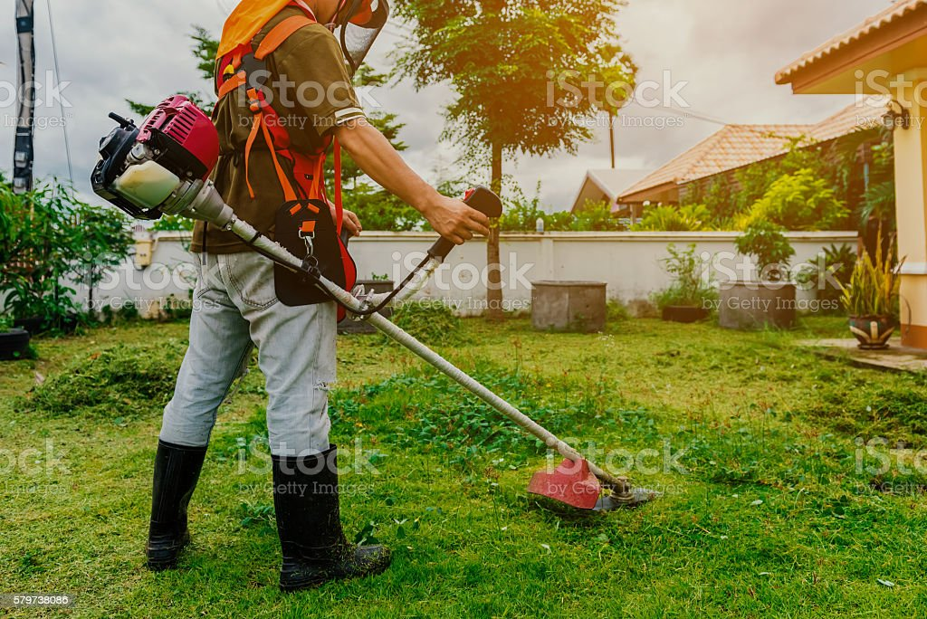 man with lawn mower stock photo