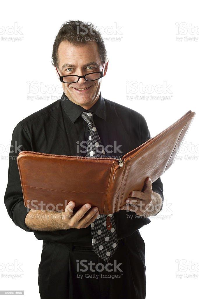 Man with Leather Portfolio stock photo
