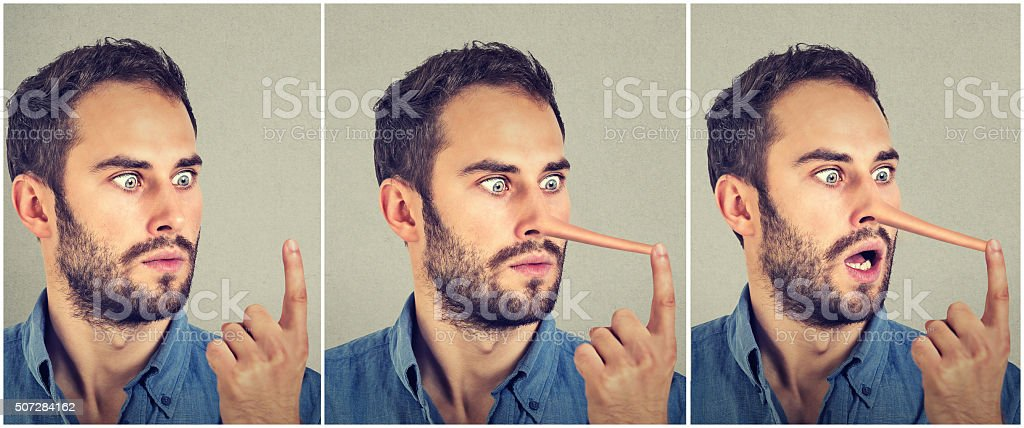 Man with long nose. Liar concept. stock photo