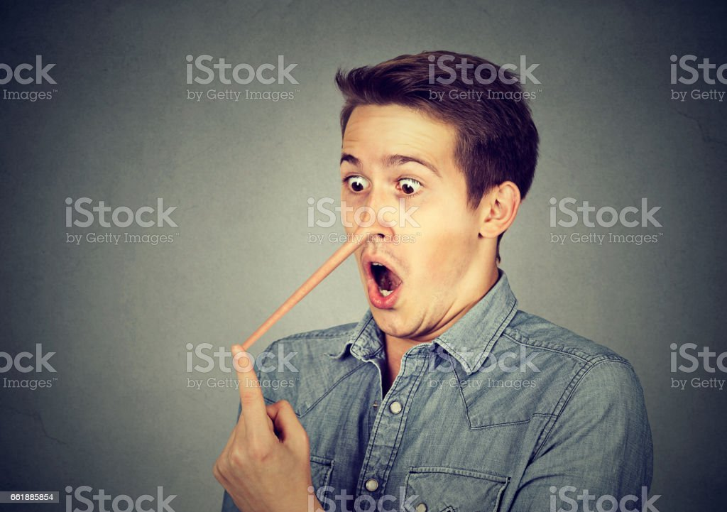 Man with long nose stock photo