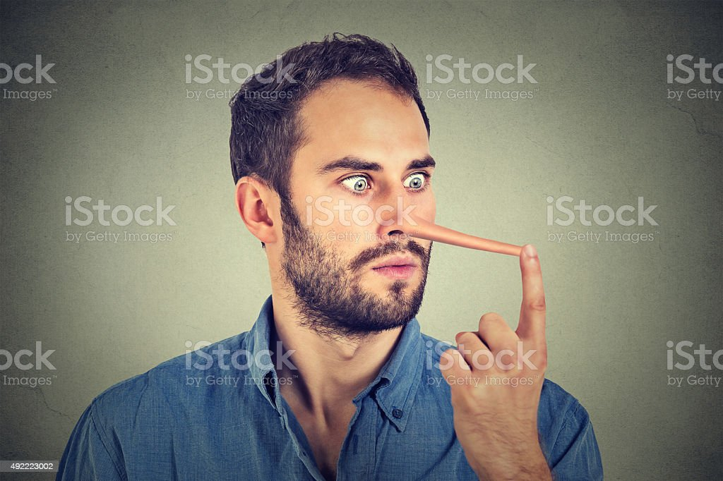 Man with long nose shocked surprised stock photo