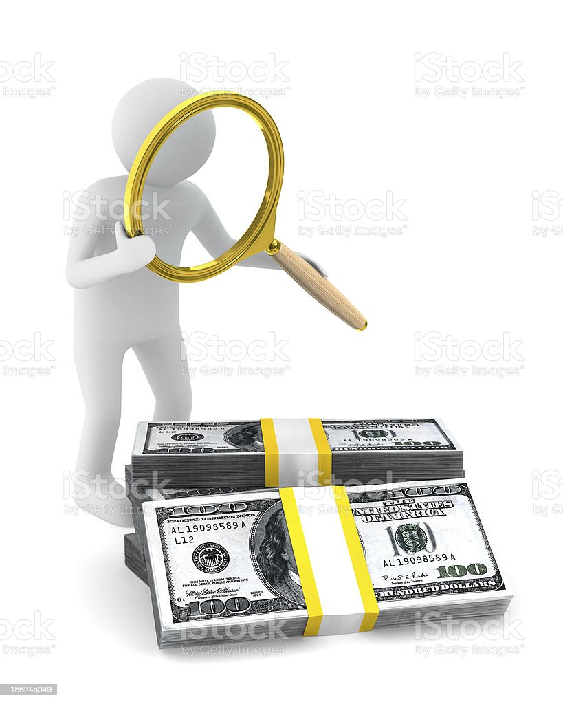 Man with magnifier and dollars. Isolated 3D image royalty-free stock photo