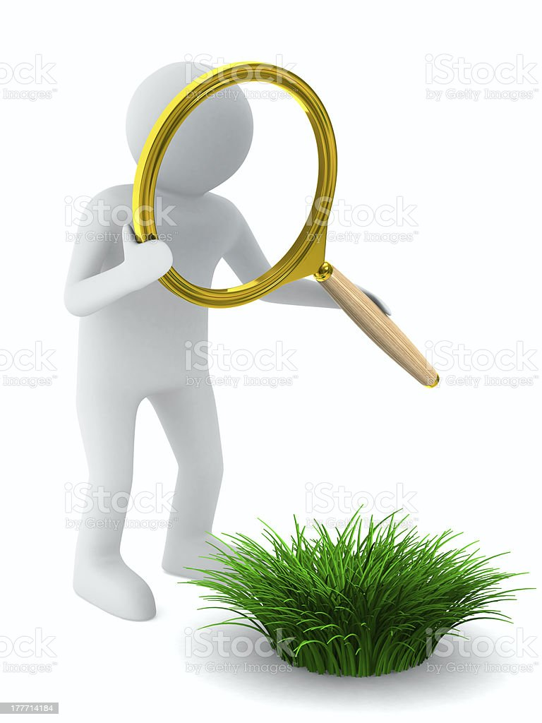Man with magnifier and grass. Isolated 3D image royalty-free stock photo