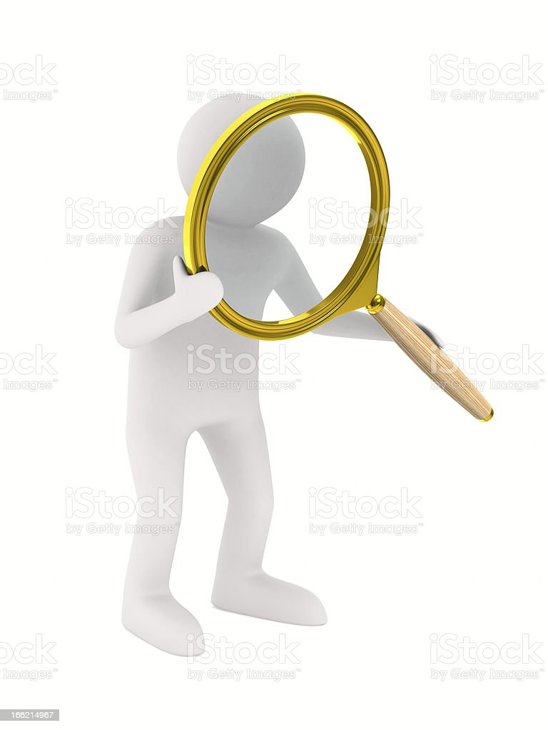 Man with magnifier on white background. Isolated 3D image royalty-free stock photo