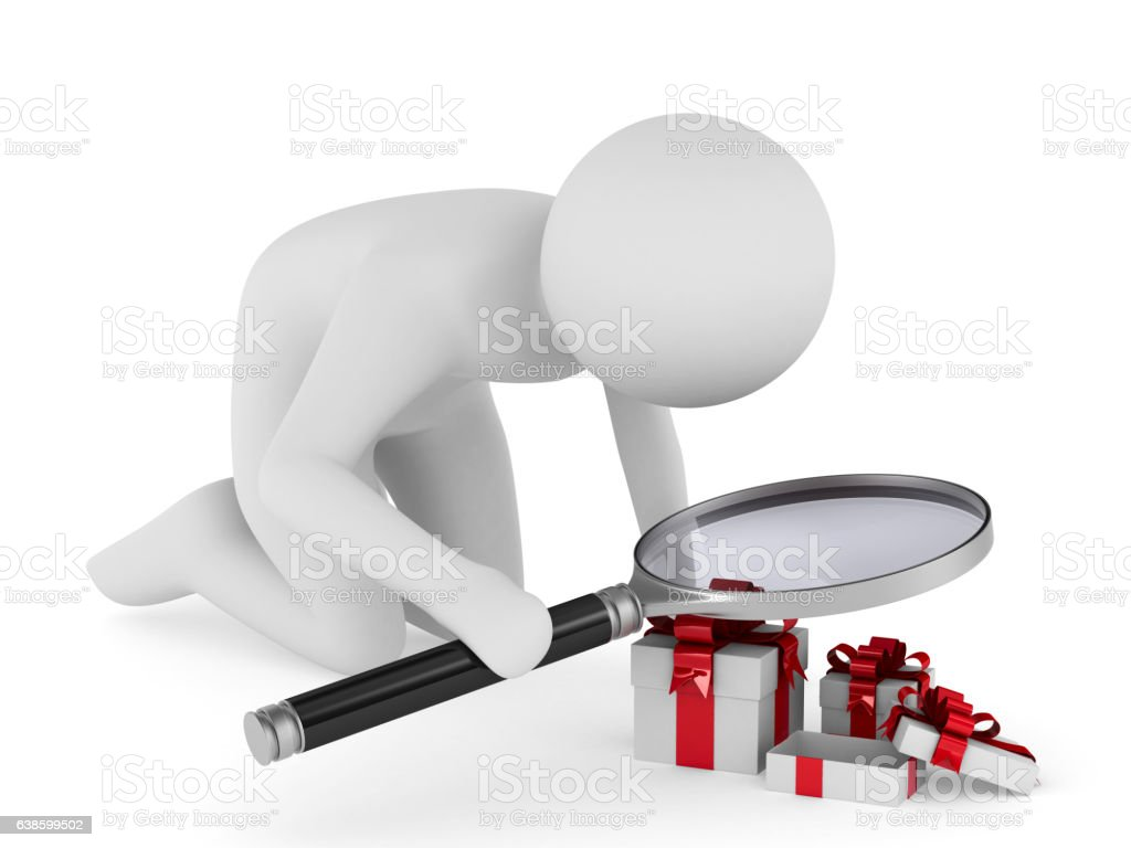 Man with magnifier on white background. Isolated 3D image stock photo