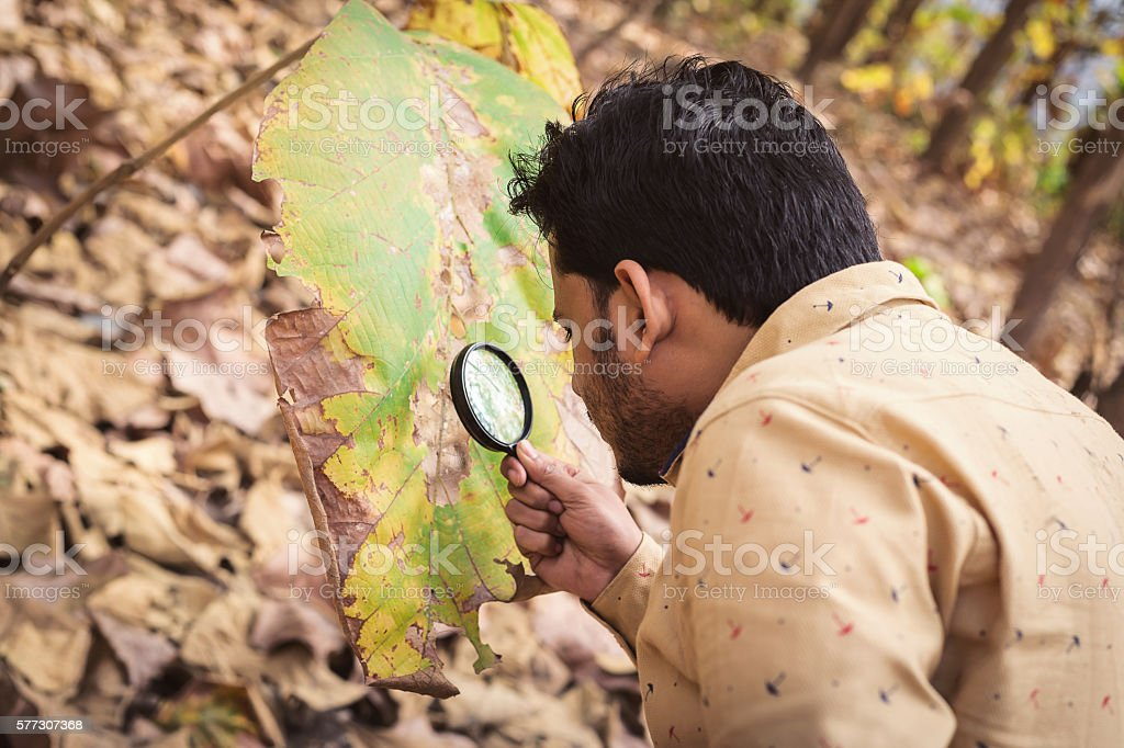 Man with magnifying glass. stock photo