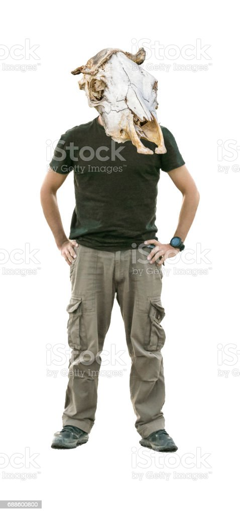 Man with Mammal Headbone Mask stock photo