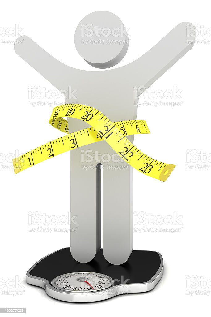 Man with measuring tape on the scales royalty-free stock photo