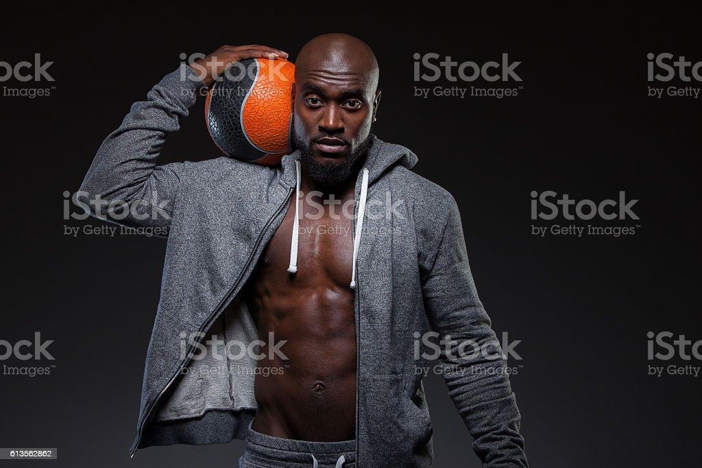 Man with Medicine Ball stock photo