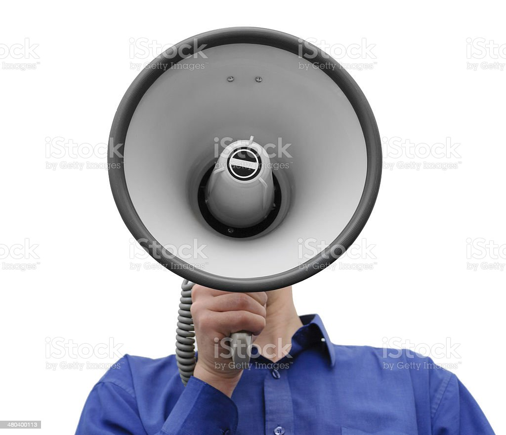 Man with megaphone in hand on the white background stock photo