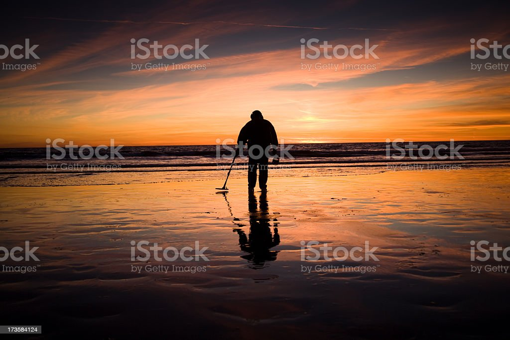 Man with Metal Detector stock photo