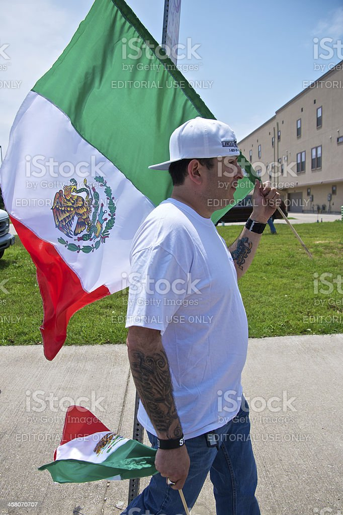 Man With Mexian Flag royalty-free stock photo