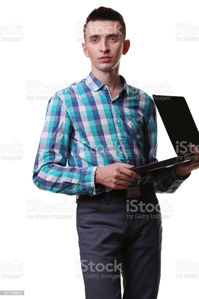 Man With Microphone Holding Laptop On White Background royalty-free stock photo