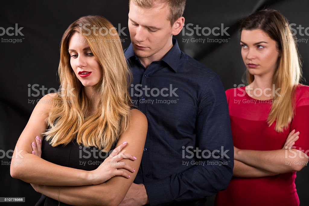 Man with mistress stock photo