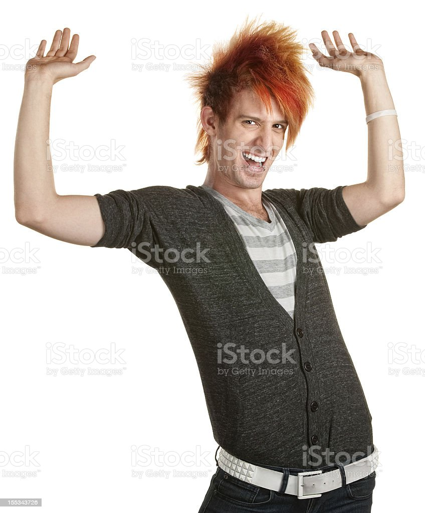 Man with Mohawk Dancing stock photo