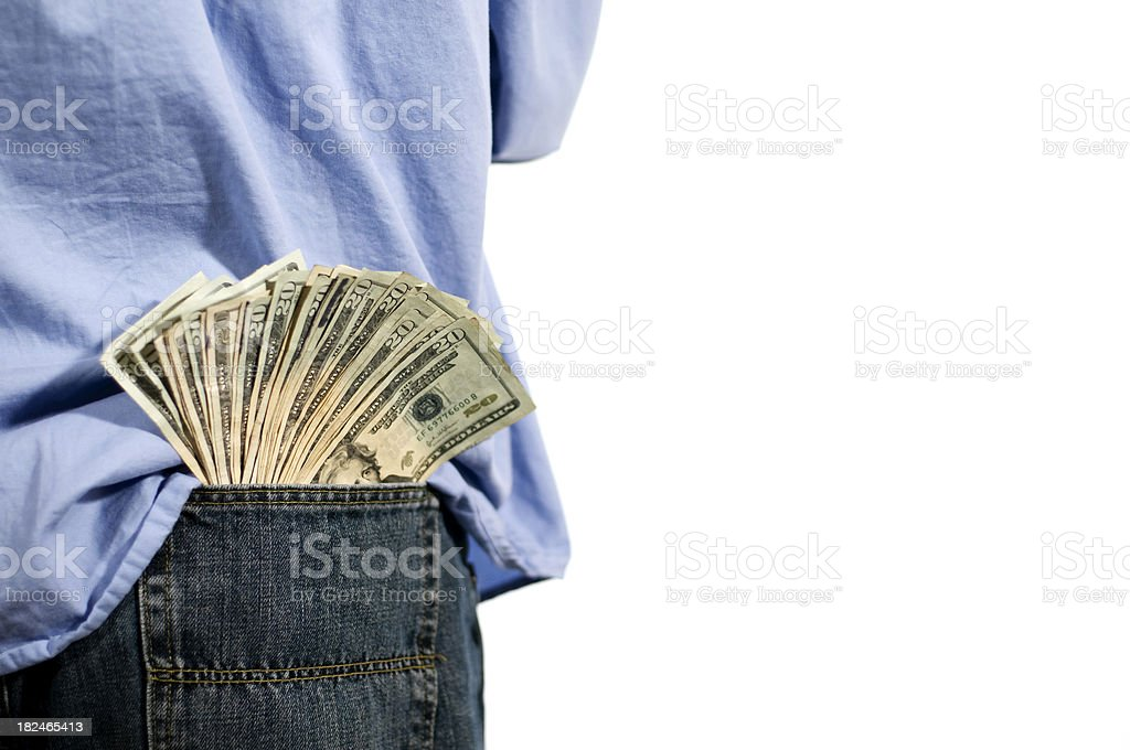 man with money in his back pocket stock photo