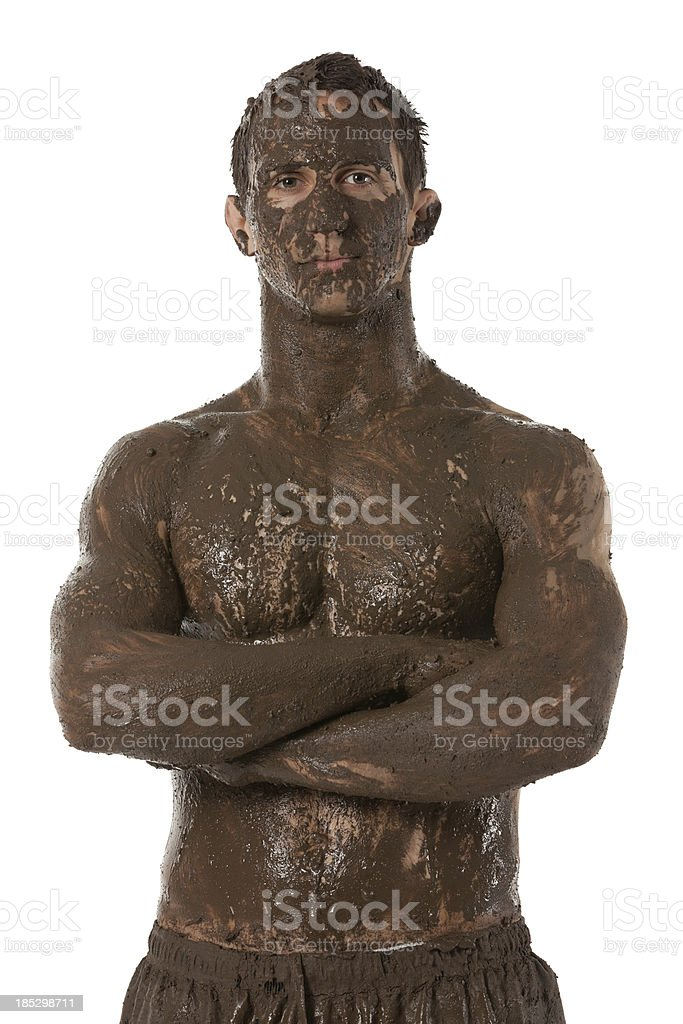 Man with mud spa royalty-free stock photo