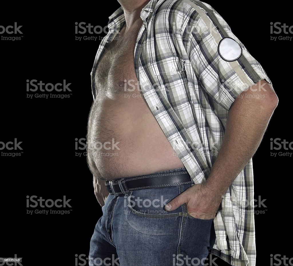 man with naked potbelly royalty-free stock photo