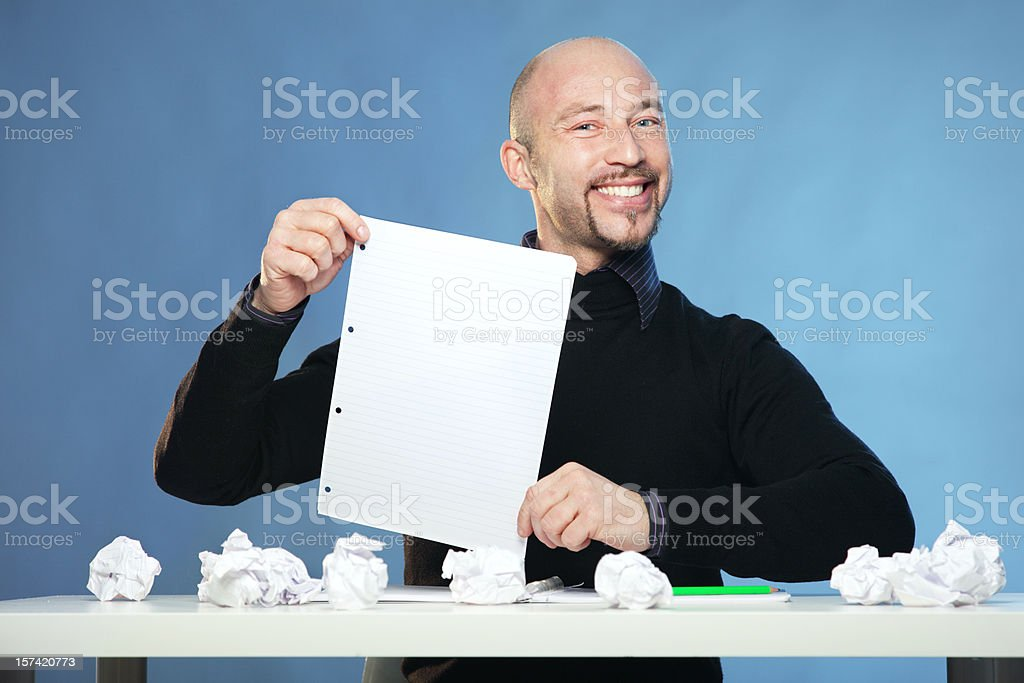Man with no Inspiration - Presenting a good idea royalty-free stock photo