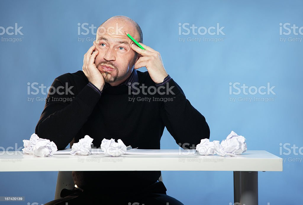 Man with no Inspiration - Thinking royalty-free stock photo