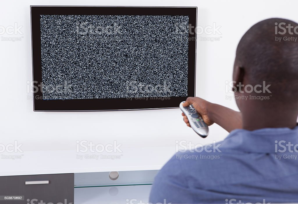 Man With No Signal Television stock photo
