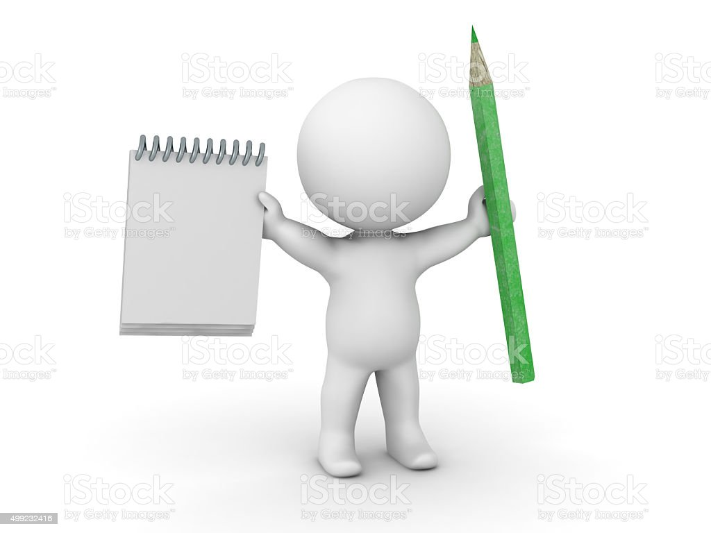 3D Man with notepad and pencil stock photo