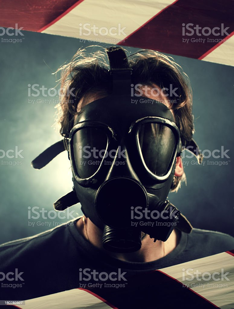 Man with old gas mask royalty-free stock photo