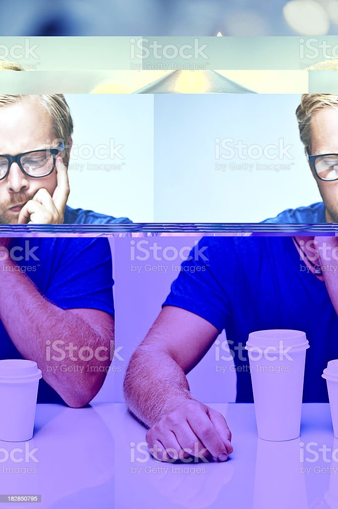 man with one big and small paper cup royalty-free stock photo
