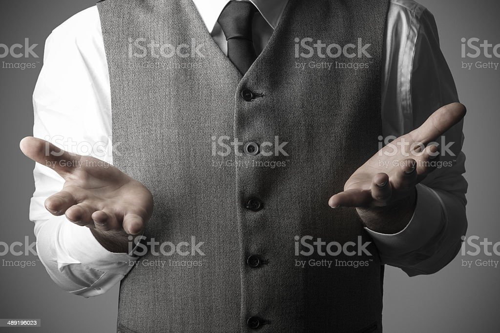 Man with open hand palms, Business Concept stock photo