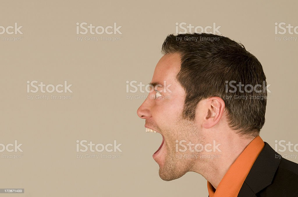 man with open mouth stock photo