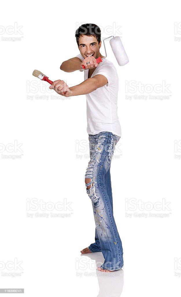 Man with paintbrush. royalty-free stock photo