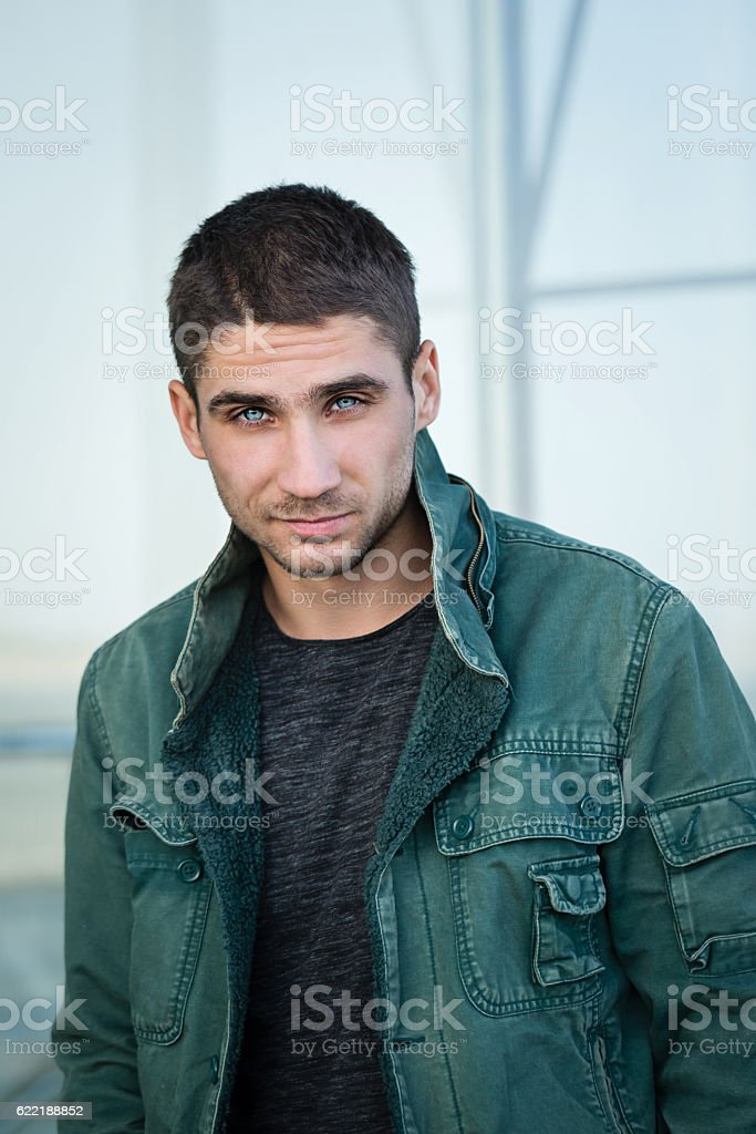Man with pale blue eyes. stock photo