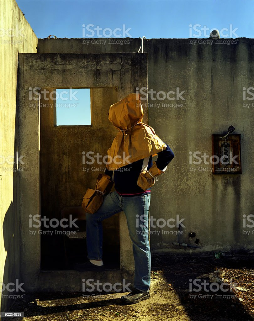 Man with Paper Bag Over His Head stock photo