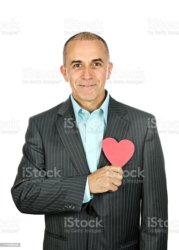 Man with paper heart on white background royalty-free stock photo