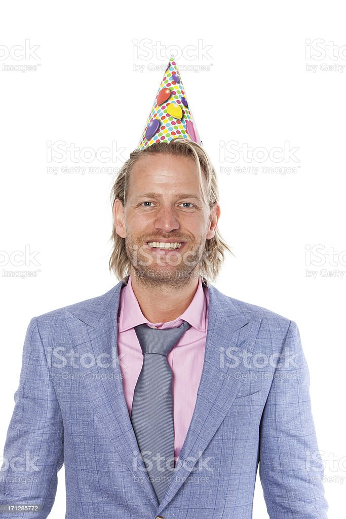 Man with party hat stock photo