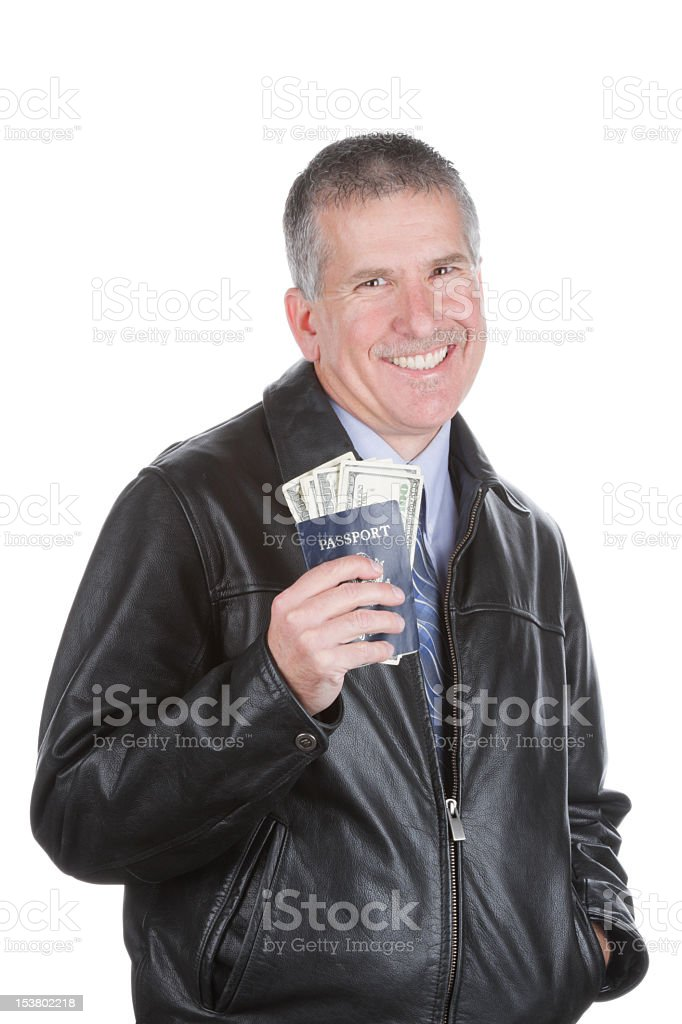 Man with Passport and Cash stock photo