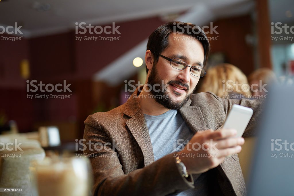Man with phone stock photo