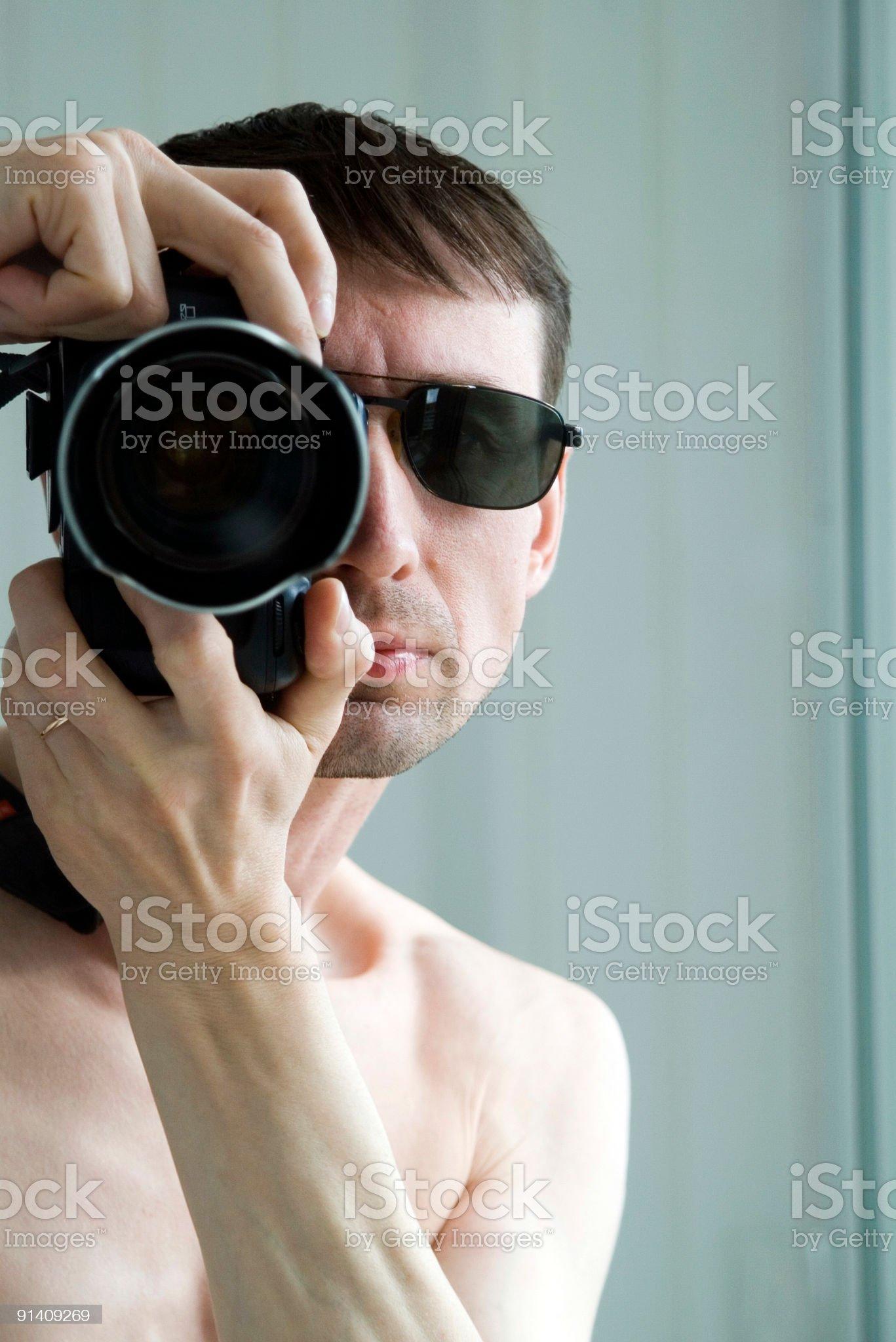 man with photo camera royalty-free stock photo