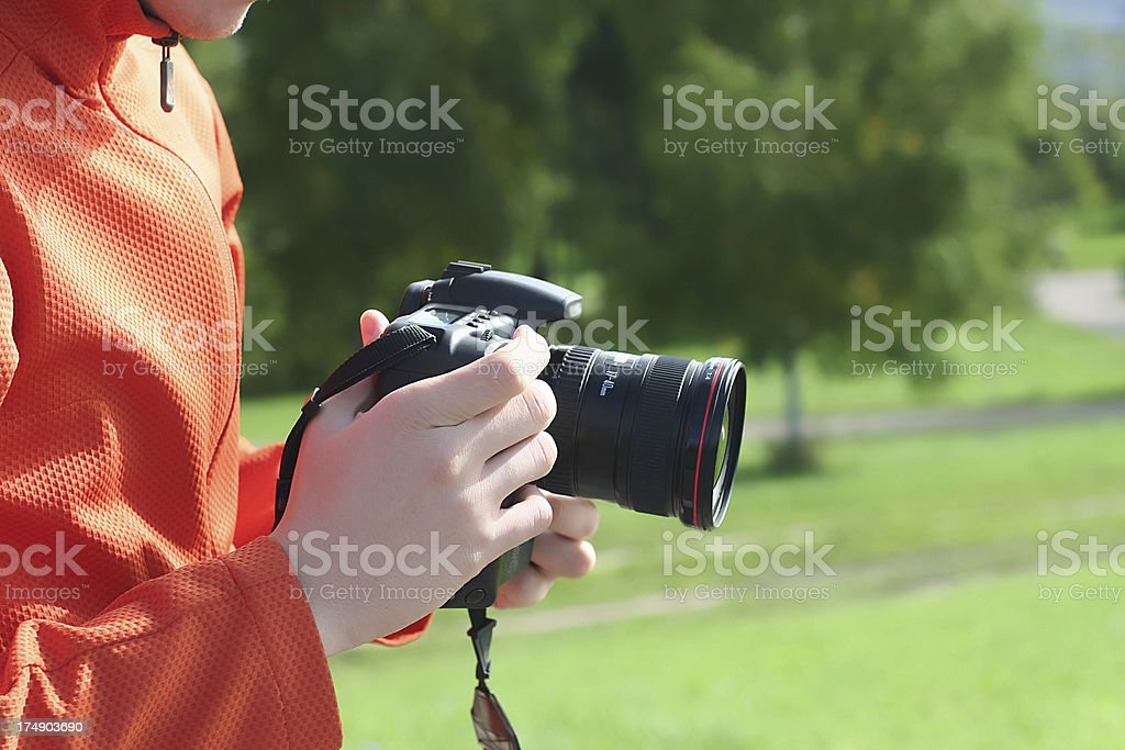 Man with photocamera royalty-free stock photo