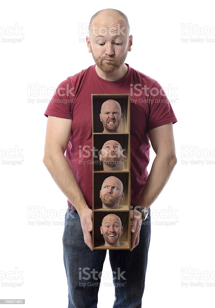 Man with pictures symbolizes multiple personalities royalty-free stock photo