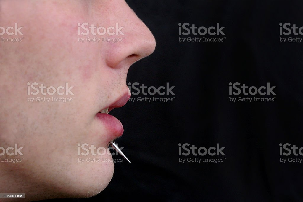Man with piercing stock photo