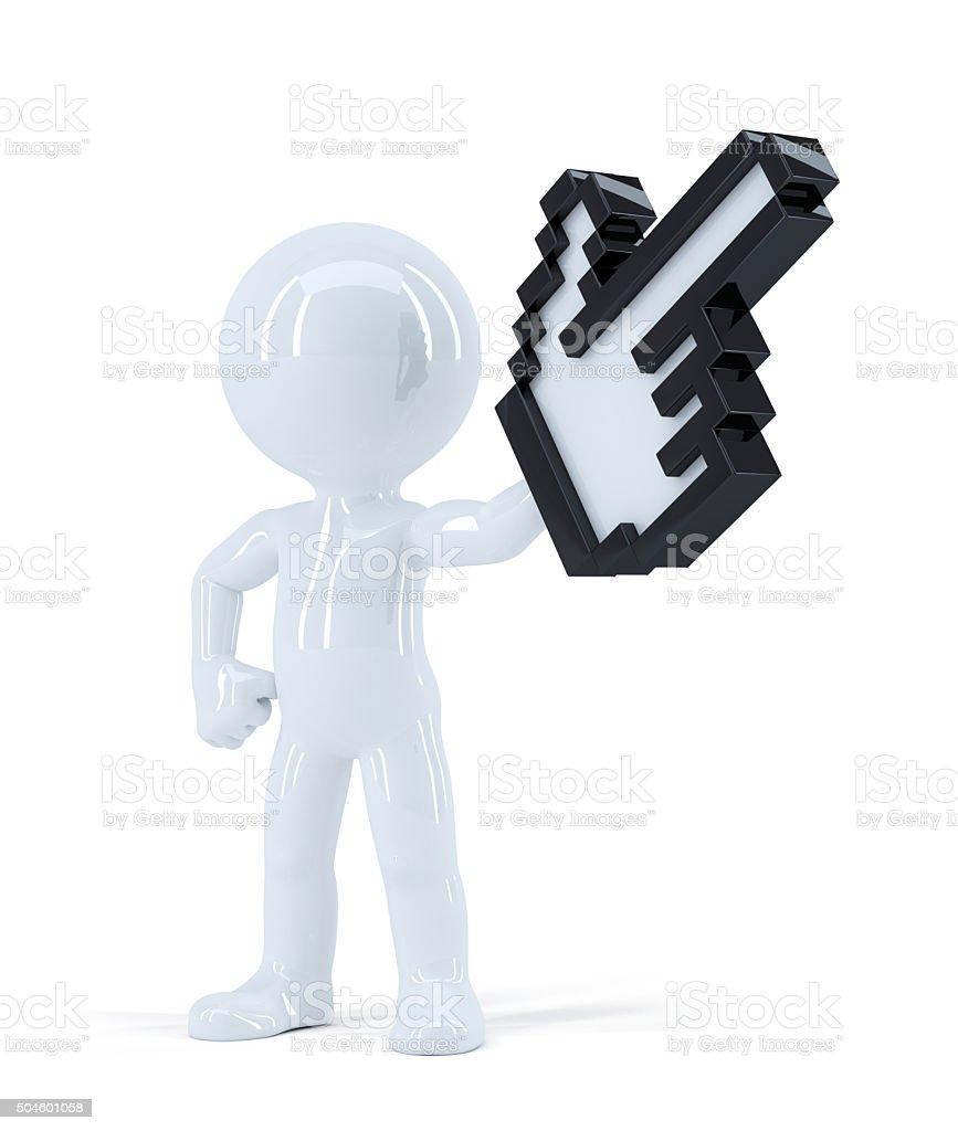 Man with pixel pointer. stock photo