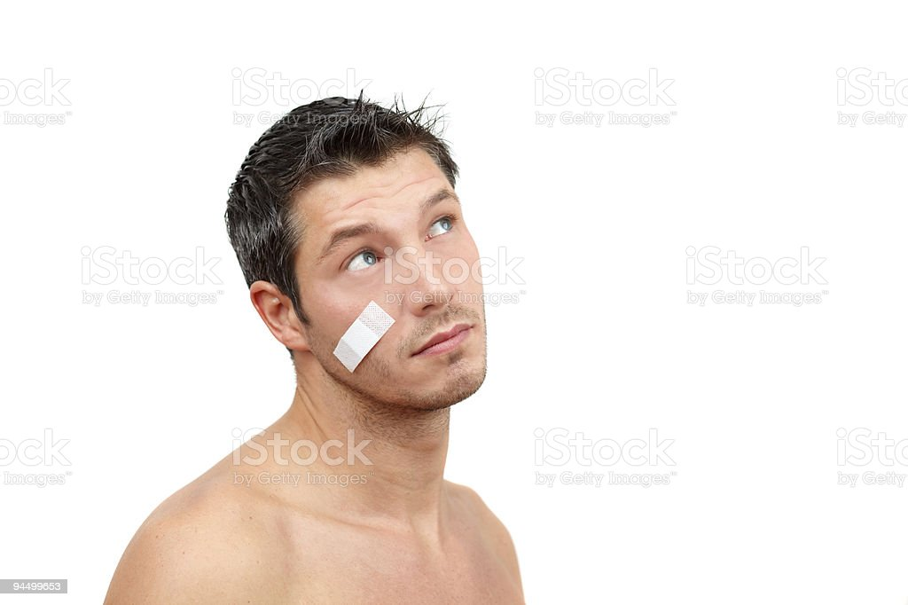 man with plaster stock photo