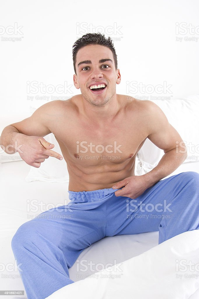 man with problem in bedroom royalty-free stock photo