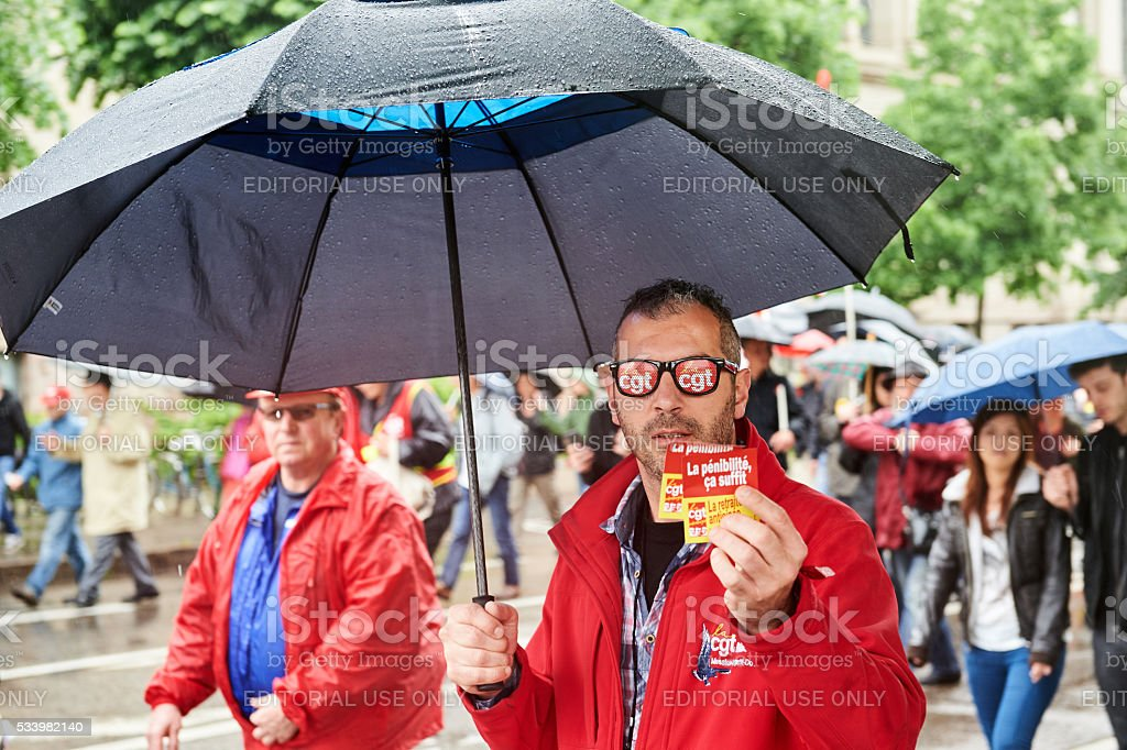 Man with protest glasses in France stock photo
