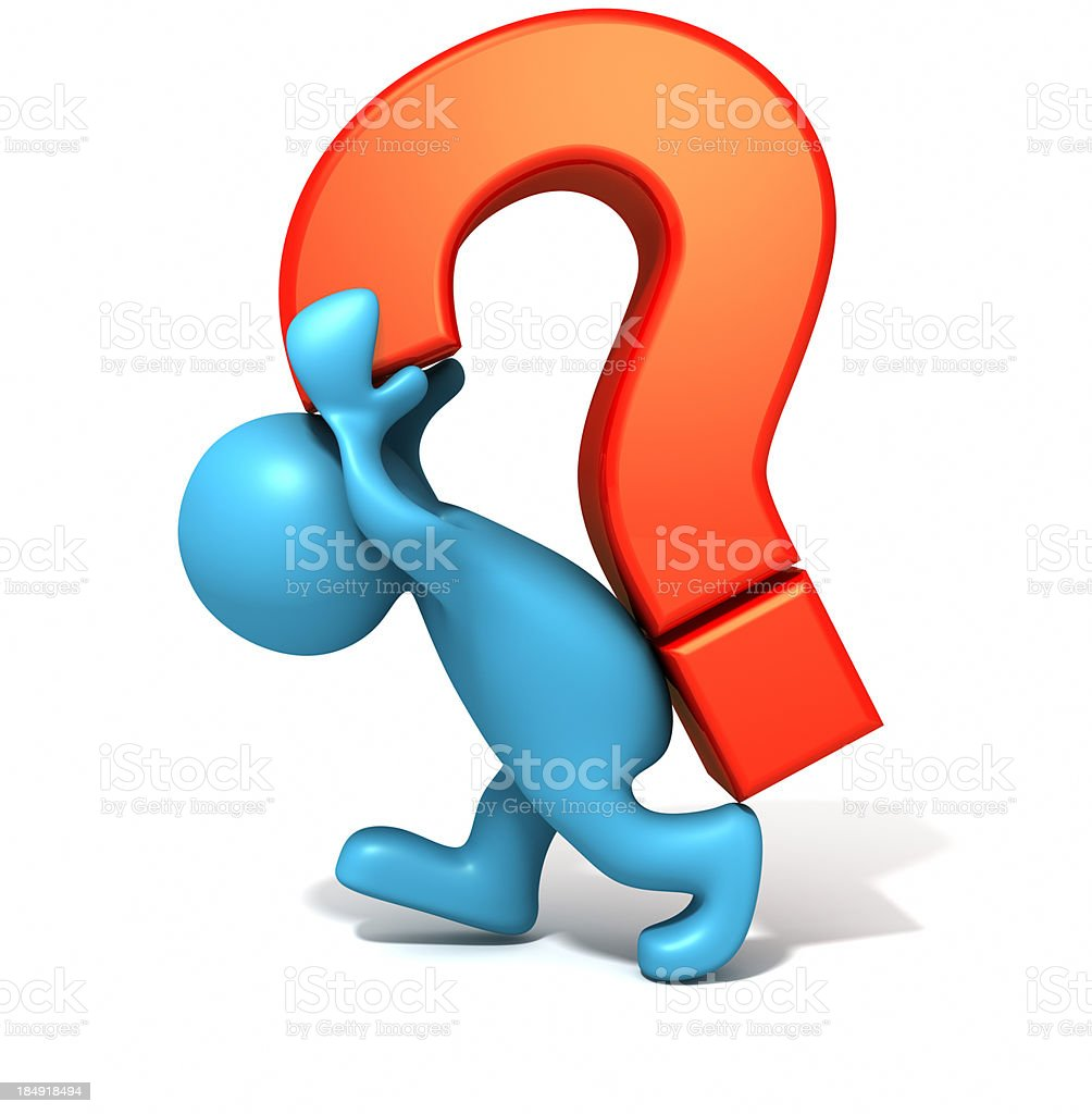 Man with question mark. royalty-free stock photo